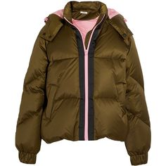GANNI Hooded quilted shell down jacket (550 CAD) ❤ liked on Polyvore featuring outerwear, jackets, coats, army green, olive quilted jacket, green military jackets, feather jacket, quilted down jackets and quilted jackets