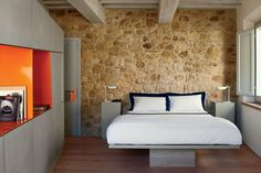 A guest room at La Bandita Townhouse, a 12-room boutique hotel recently opened in a centuries-old former convent in Pienza.