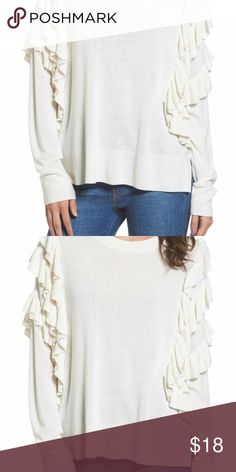 70b21634be1061 I just added this listing on Poshmark  Women s BP Ivory Ruffle Pullover  Sweater.