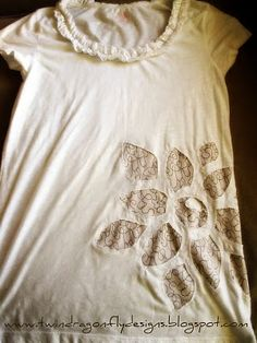 Dragonfly Designs: Super Cute T-Shirt Refashion-fix a stained shirt