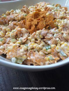 Perfect Potluck Salad Chili Fritos Corn Salad-A great salad for picnics, cookouts, and potlucks!Chili Fritos Corn Salad-A great salad for picnics, cookouts, and potlucks! Potluck Salad, Potluck Dishes, Potluck Recipes, Salad Recipes, Vegetarian Recipes, Cooking Recipes, Potluck Ideas, Work Potluck, Yummy Recipes