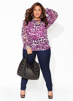 Ashley Stewart Pink Purple Leopard Print Sheer  Plus Size Chiffon Top  #UNIQUE_WOMENS_FASHION