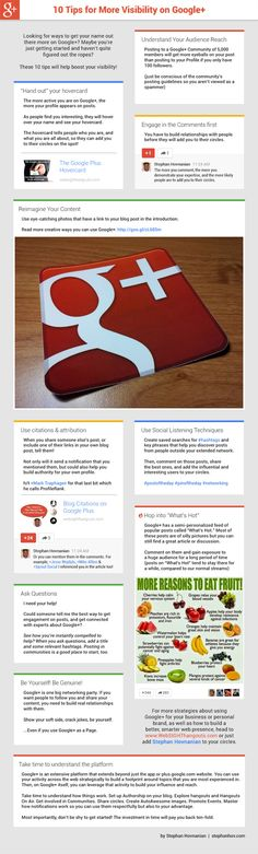 10 Google Plus Visibility Tips #Infographic by  #onlinevisibility #googleplustips