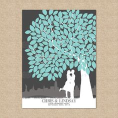 Canvas Wedding Tree Guest Book - Personalized Skyline & Silhouette Gallery Wrapped Keepsake Print, 175 Signature Guestbook, Size: 18x24