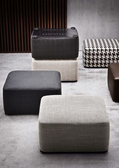 DAVIS POUF - Designer Poufs from Minotti ✓ all information ✓ high-resolution images ✓ CADs ✓ catalogues ✓ contact information ✓ find your. Bench Furniture, Modern Furniture, Furniture Design, Upholstered Furniture, Ottoman Design, Sofa Design, Lobby Design, Lounge Design, Futuristic Furniture