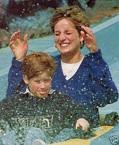 April 13, 1992: Diana Princess Of Wales, Prince William and Prince Harry visit The 'Thorpe Park' Amusement Park.