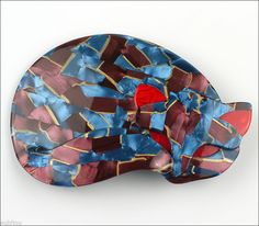 Lea Stein Figural Blue Burgundy Mosaic Gomina Sleeping Cat Pet Brooch Pin France | eBay