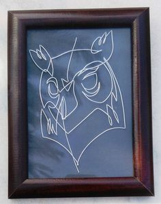 Owl - Wire Painting, Art Sculpture, Unique Gift by WirePainting on Etsy