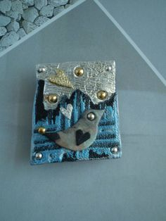 City Bird by the water Brooch in recycled by handcutbymedesigns, £25.00