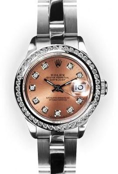 Ladies Stainless Steel Oyster Pink Dial Channel Set Bezel Rolex
