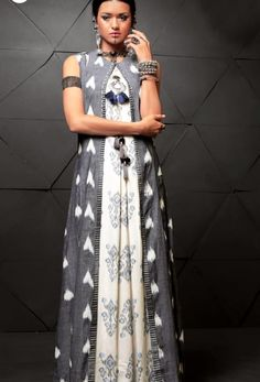 Floor Lenght cotton printed Kurti with superb detailing and full length jacket.