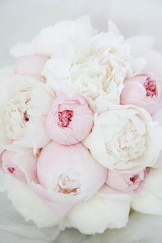 ❤️Peonies ~ Pale pink and white peony bouquet by kerr
