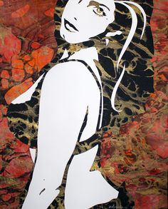 "Original Art , Female Figure in Mixed Media (handmade paper on paper) & Metallic Paint ""Cold Fire"" by Marcy Ann Villafaña Mosaic Art, Mosaics, Kate Shaw, Metallic Paint, Custom Art, Figurative Art, Mixed Media Art, Altered Art, Paper Cutting"