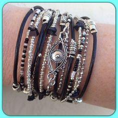 Evil Eye Wrap Bracelet - Boho Chic Multi Wrap Stacking Leather Accessory in Black & Silver