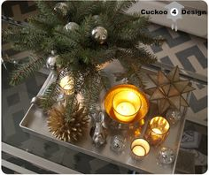silver, gold and white coffee table Christmas decoration from Target