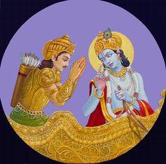 Krishna speak the Bhagavad-Gita, oil painting, illustration, by Dominique Amendola Krishna Art, Krishna Images, Lord Krishna, Lord Shiva, Reiki, Indiana, Bhagavad Gita, Yoga, Figure Painting