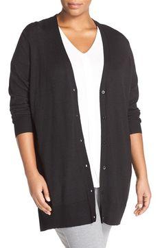 Sejour V-Neck Merino Blend Cardigan (Plus Size)