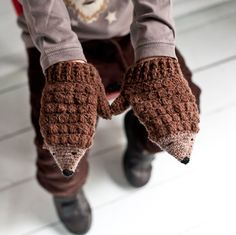 Make an adorable pair of hedgehog mittens from the book Crochet at Play by Kat Goldin (aka me! The kist contains everything you need to make the mittens up to child size including, 2 colours of Shetland wool, 2 crochet hooks, embrodery thread, needle. Crochet Mittens, Mittens Pattern, Crochet Books, Crochet Gifts, Knit Crochet, Crochet Stitches, Crochet Baby, Crochet Pattern, Baby Sewing Projects