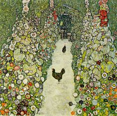 Garden with Chickens, 1916 (oil on canvas)