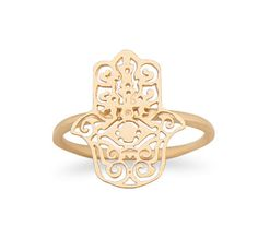 14k Gold Over Sterling Silver Openwork Hamsa Ring
