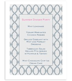 French Dinner Party Menu  Occasions    Dinner Party