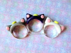 Sailor Moon Luna Artemis Diana Cat Rings by NerdyLittleSecrets, $6.00