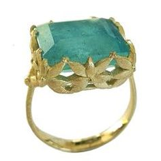 Dalben Aquamarine Gold Ring | From a unique collection of vintage cocktail rings at https://www.1stdibs.com/jewelry/rings/cocktail-rings/