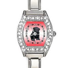 BMCZ127 Black Pug Dog CZ Lady Stainless Steel Italian Charms Bracelet Wrist Watch -- More info could be found at the image url.