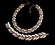 1950 Vtg Crown TRIFARI WHITE ENAMEL Necklace & by RAKcreations
