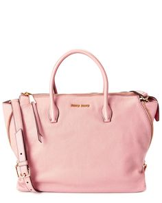 Miu Miu Madras Large Leather Satchel Pink