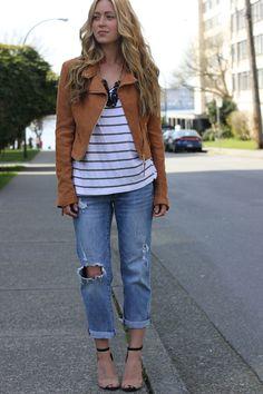 boyfriend jeans, stripes  leather jacket.