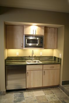 small basement kitchenette... add full -size fridge and replace small with dishwasher