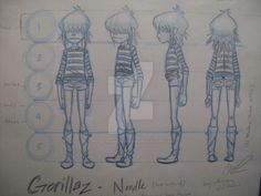 Model Sheets of Noodle from Gorillaz that I did for my college assignment I DO NOT own Gorillaz I DO own these sketches DO NOT STEAL MY ARTWORK!
