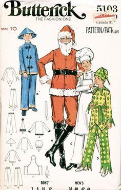 Butterick 5103 men's & boys' costumes: Santa, Chinese man, chef, & jester