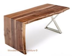 Live edge desk with stainless steel legs by woodland creek furniture