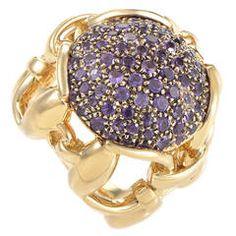 Gucci Amethyst Pave Yellow Gold Horsebit Ring