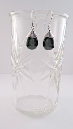 Silver onyx wire wrapped dangles by caitibabe10 on Etsy, $22.00