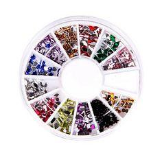240 Nail Art Rhinestone Glitter Tip Mix Gem Wheel – USD $ 2.99