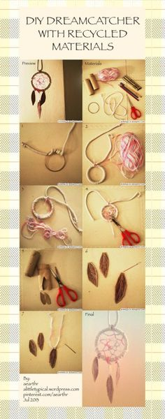Diy dreamcatcher with recycled materials