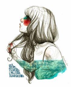 Paula Bonet - Respirar els núvols i pensar en monosil. Paula Bonet, Arte Sketchbook, Illustration Girl, Portraits, Oeuvre D'art, Graphic, Les Oeuvres, Creative Art, Art Drawings