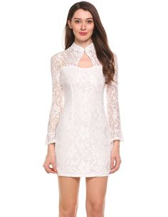 Trumpet Sleeves O Neck Pullover Floral Lace Cheongsam Mini Pencil Dress