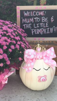 Cute pink Fall Pumpkin Baby Shower Ideas for girls. Cute white Pumpkin with pink… Cute pink Fall Pumpkin Baby Shower Ideas for girls. Cute white Pumpkin with pink bow and pacifier. Baby Shower Idea for Girls Diy Baby Shower Decorations, Baby Shower Themes, Baby Boy Shower, Baby Shower Gifts, Baby Shower Fall Theme, Baby Decor, Cute Baby Shower Games, Baby Shower Favors Girl, Party