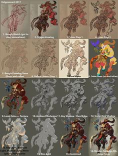 Cool breakdown of more complex layering of shadows and ambient occlusion in a painting