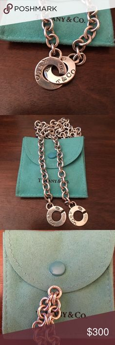 """Tiffany Necklace AUTHENTIC T&Co. Interlocking Circles with chunky rolo chain, style retired. 17"""" length, worn like 3 times. Mint condition. Authentication stamp on central chain link as shown 3rd photo. Will be sent Certified Mail. Tiffany & Co. Jewelry Necklaces"""