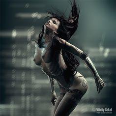 Cyberpunk art, futuristic, Vitaliy Sokolov, future girl, cyborg, cyborg girl, android, robot, sexy, cyber girl by FuturisticNews.com