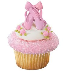 Ballet slipper cupcake decorations are pink petite on your treat! #Ballerina