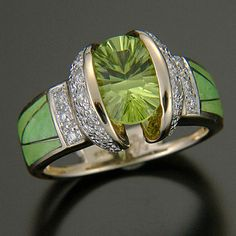 Peridot and Diamond Ring. .