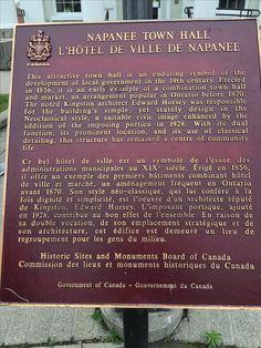Napanee Town Hall Town Hall, Ontario, History, Historia