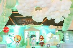 """Mayor Dylan's Charming """"My Own Little Town"""" Themed Party – Stage Themed Parties, Party Themes, Party Ideas, Soft Colors, Green Colors, Striped Table, Pastel Palette, White Balloons, Green Party"""