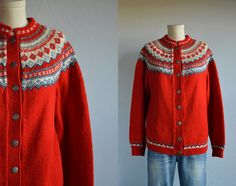 Your place to buy and sell all things handmade Label: Husfliden Lillehammer Vintage Sweaters, Red Sweaters, Fair Isle Knitting, Hand Knitting, Norwegian Knitting, Lillehammer, Red And Blue, Knit Crochet, Vintage Outfits